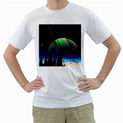 Planets In Space Stars Men s T Shirt (white)