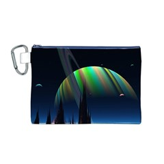 Planets In Space Stars Canvas Cosmetic Bag (m)