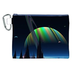 Planets In Space Stars Canvas Cosmetic Bag (xxl)
