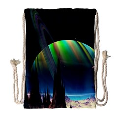 Planets In Space Stars Drawstring Bag (large)