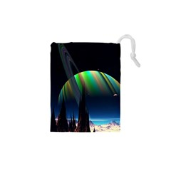 Planets In Space Stars Drawstring Pouches (xs)