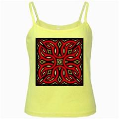 Traditional Art Pattern Yellow Spaghetti Tank