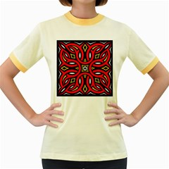 Traditional Art Pattern Women s Fitted Ringer T Shirts