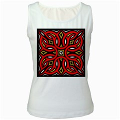 Traditional Art Pattern Women s White Tank Top