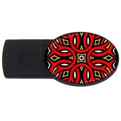 Traditional Art Pattern Usb Flash Drive Oval (2 Gb)