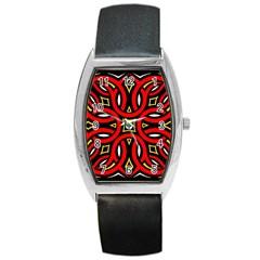 Traditional Art Pattern Barrel Style Metal Watch