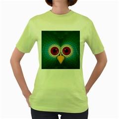 Bird Eyes Abstract Women s Green T Shirt
