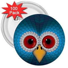 Bird Eyes Abstract 3  Buttons (100 Pack)