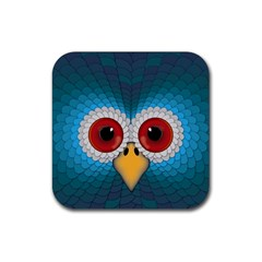 Bird Eyes Abstract Rubber Square Coaster (4 Pack)