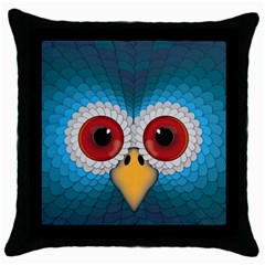 Bird Eyes Abstract Throw Pillow Case (black)