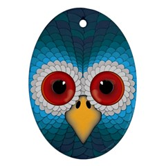 Bird Eyes Abstract Oval Ornament (Two Sides)