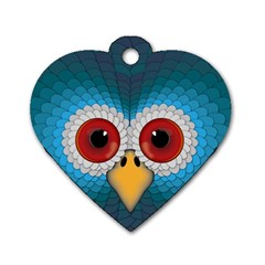 Bird Eyes Abstract Dog Tag Heart (two Sides)