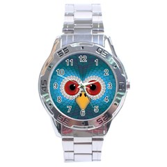 Bird Eyes Abstract Stainless Steel Analogue Watch