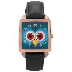 Bird Eyes Abstract Rose Gold Leather Watch