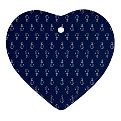 Anchor Pattern Heart Ornament (Two Sides)