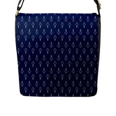 Anchor Pattern Flap Messenger Bag (l)