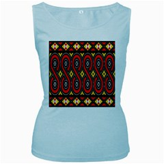Toraja Traditional Art Pattern Women s Baby Blue Tank Top