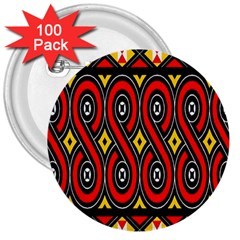 Toraja Traditional Art Pattern 3  Buttons (100 Pack)