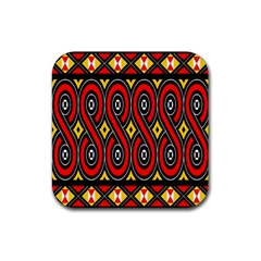 Toraja Traditional Art Pattern Rubber Square Coaster (4 Pack)