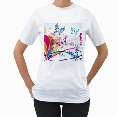 Butterfly Vector Art Women s T Shirt (white) (two Sided)