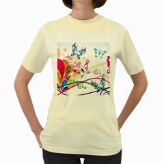 Butterfly Vector Art Women s Yellow T Shirt