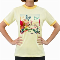 Butterfly Vector Art Women s Fitted Ringer T Shirts