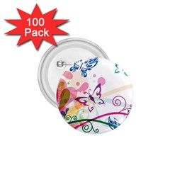 Butterfly Vector Art 1 75  Buttons (100 Pack)