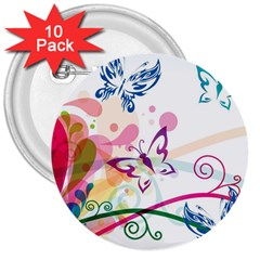 Butterfly Vector Art 3  Buttons (10 pack)