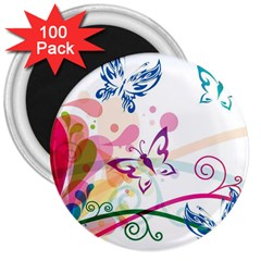 Butterfly Vector Art 3  Magnets (100 Pack)