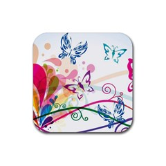 Butterfly Vector Art Rubber Square Coaster (4 Pack)
