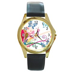 Butterfly Vector Art Round Gold Metal Watch