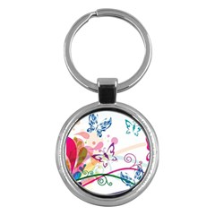 Butterfly Vector Art Key Chains (Round)