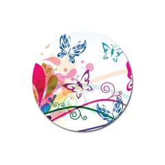 Butterfly Vector Art Magnet 3  (Round)