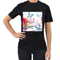 Butterfly Vector Art Women s T Shirt (black) (two Sided)