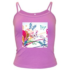Butterfly Vector Art Dark Spaghetti Tank