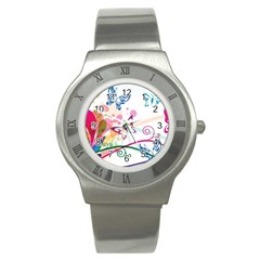 Butterfly Vector Art Stainless Steel Watch