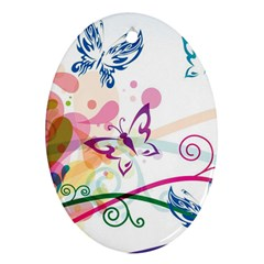 Butterfly Vector Art Oval Ornament (Two Sides)