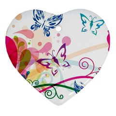 Butterfly Vector Art Heart Ornament (two Sides)