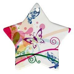 Butterfly Vector Art Star Ornament (Two Sides)