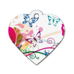 Butterfly Vector Art Dog Tag Heart (one Side)