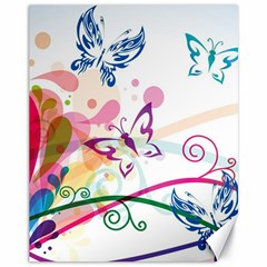 Butterfly Vector Art Canvas 11  X 14