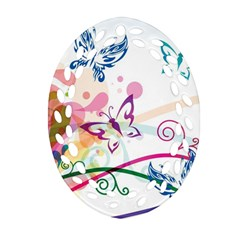 Butterfly Vector Art Oval Filigree Ornament (two Sides)