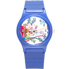 Butterfly Vector Art Round Plastic Sport Watch (s)