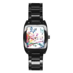 Butterfly Vector Art Stainless Steel Barrel Watch