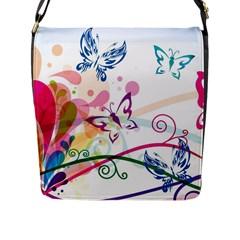 Butterfly Vector Art Flap Messenger Bag (l)