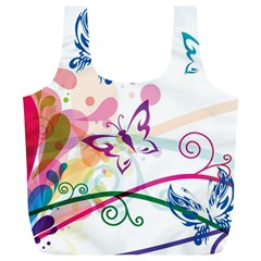 Butterfly Vector Art Full Print Recycle Bags (l)