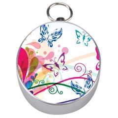 Butterfly Vector Art Silver Compasses