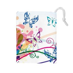 Butterfly Vector Art Drawstring Pouches (large)