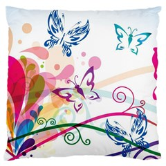 Butterfly Vector Art Large Flano Cushion Case (two Sides)