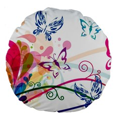 Butterfly Vector Art Large 18  Premium Flano Round Cushions